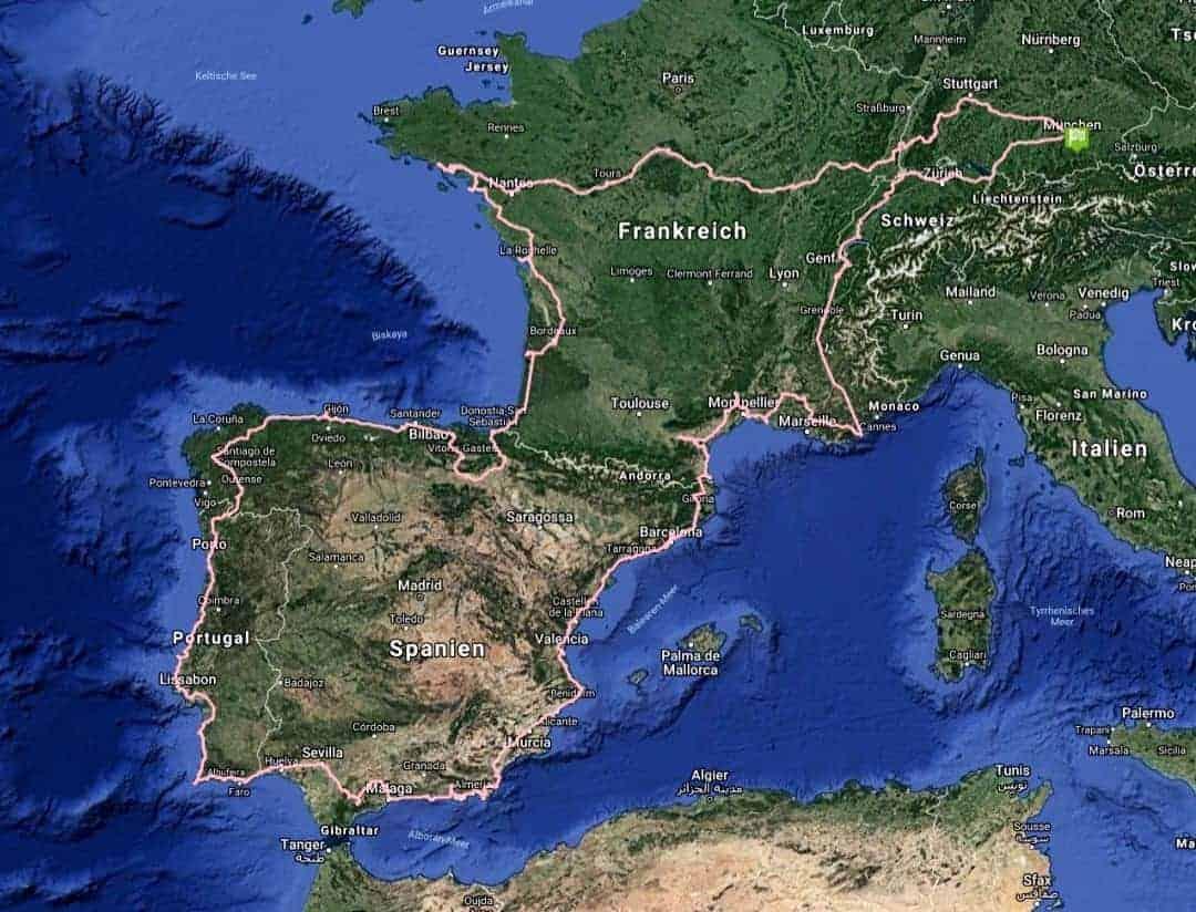 Satellitenansicht 80 Tage Europa
